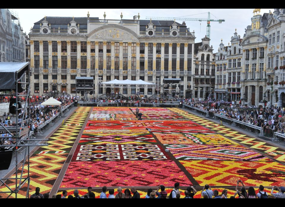 Volunteers work on the Grand-Place in Brussels, covered on August 14, 2012 by a huge carpet of some 2000 m2 of flowers in the