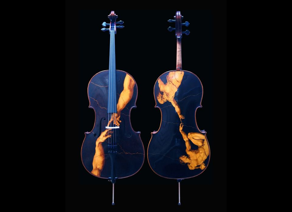 """Custom (Gliga) Cello - 2007  - reproduction of Michelangelo's """"Creation of Adam"""" from the Sistine Chapel in The Vatican."""" <em"""