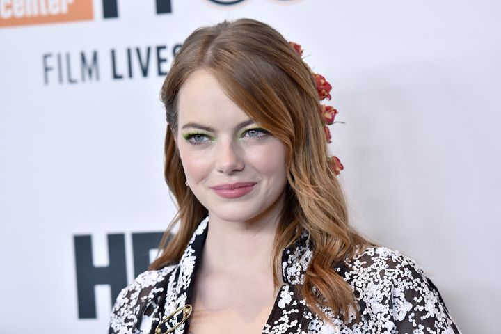 Emma Stone attends the premiere of 'The Favourite' on opening night of the 56th New York Film Festival.