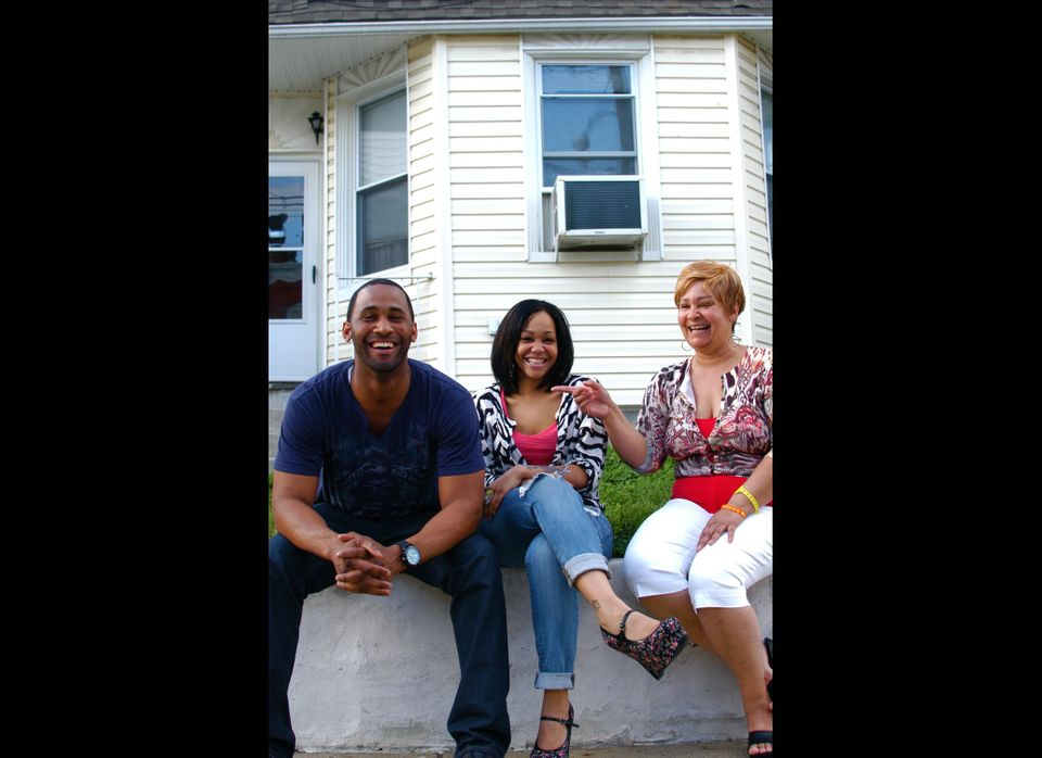 L-R: Adam Bostick, Princess Bostick, Lea Bostick  In front of their home in the Tacony neighborhood of Philadelphia.