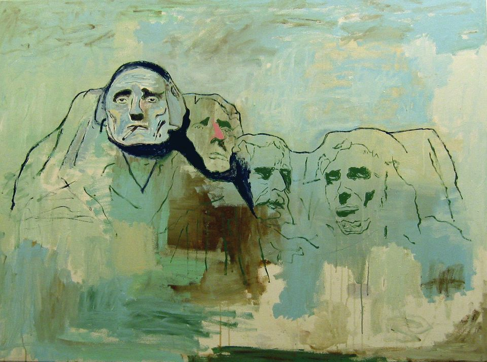 "WES LANG (b. 1972)  Mt. Rushmore ""The Only Shit that's Left Behind"", 2005   Acrylic on canvas, 40 x 54 in."