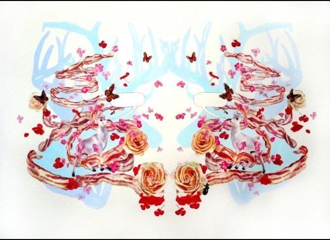 "Monika Malewska- ""Bacon Wreath with Deer"", Watercolor on paper, 28""x34"", 2011"