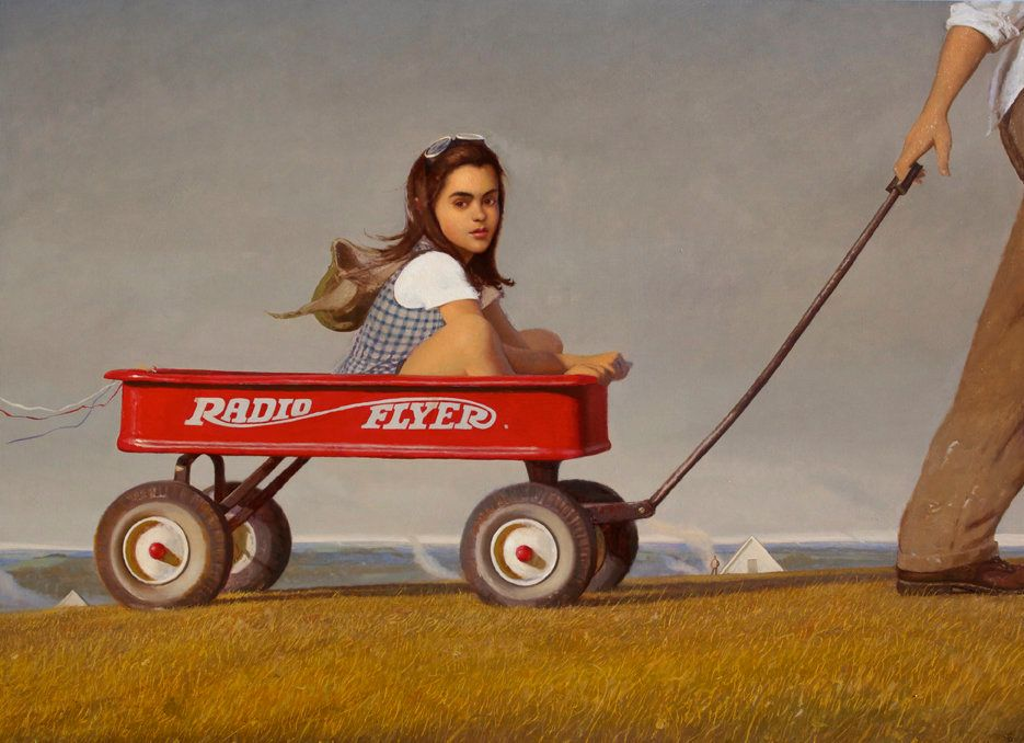 <strong>Bo Bartlett</strong> <em>Radio Flyer</em>, 2012 Oil on Canvas 48 x 66 inches Courtesy of P.P.O.W