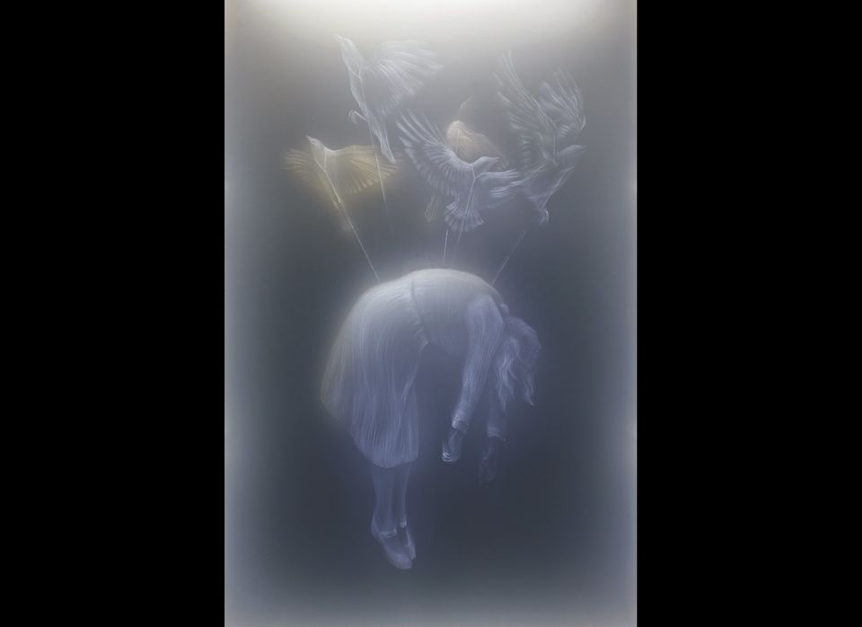 BELLA, from the <em>Dystopia</em> series 2012 44 h x 25 l x 5.25 w inches Led Lights, Glass, Plexiglass, Wood  <em>Photo