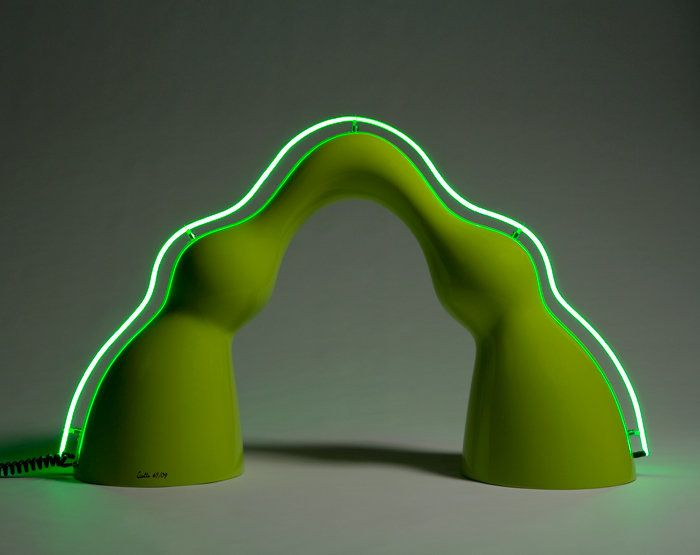 """Benny"" floor lamp in lime green auto body paint on gel-coated fiberglass-reinforced plastic with a neon spine.   Series desi"