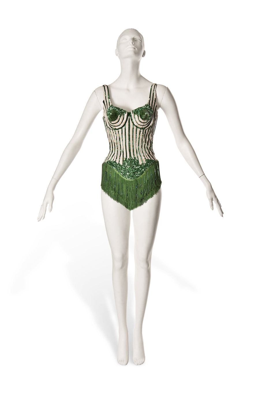 A couture corset in green silk with conical cups and beaded fringe, embroidered with candy stripes of opalescent sequins and