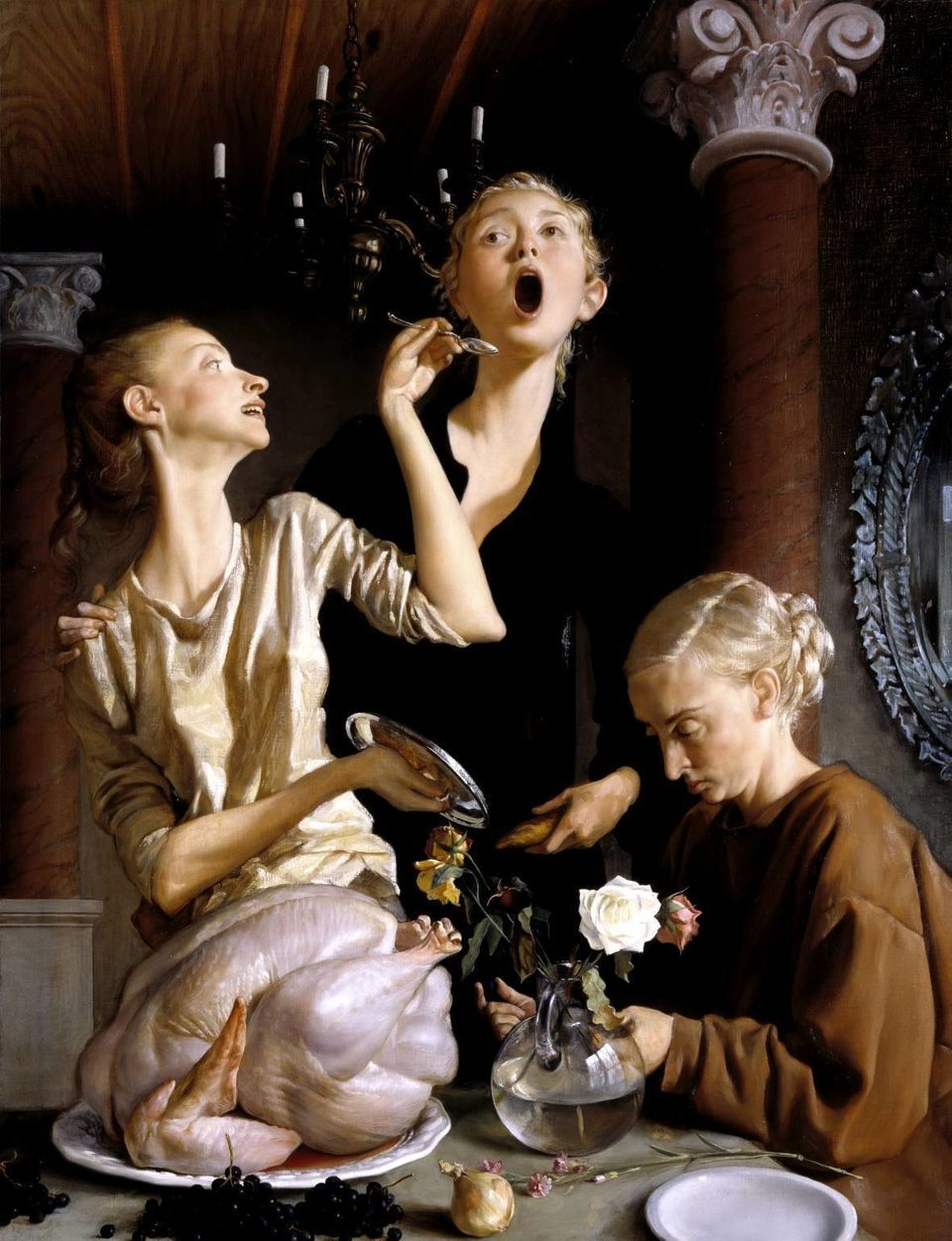 """Is this what your Turkey face looks like?  Image: John Currin, """"Thanksgiving,"""" 2003"""