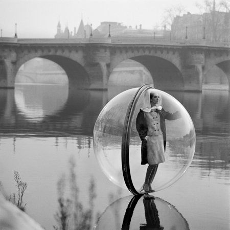 "Bubble on the Seine, Paris, Bazaar, 1963.  See more work at the <a href=""http://www.faheykleingallery.com/photographers/sokol"