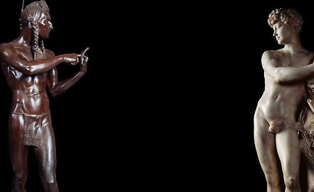 Ken Gonzales-Day, Untitled (Blackfoot Man and Faun Holding a Goat), 2011, Light jet print on durabond