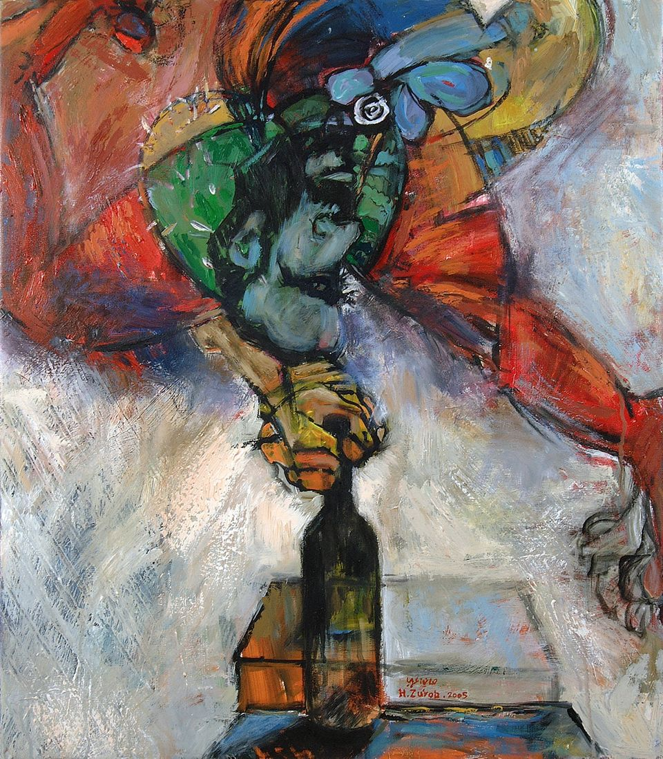 Siege no. 11, 2005. Acrylic on canvas, 77 x 67 cm.  Private collection, Contemporary Art Platform, Kuwait.