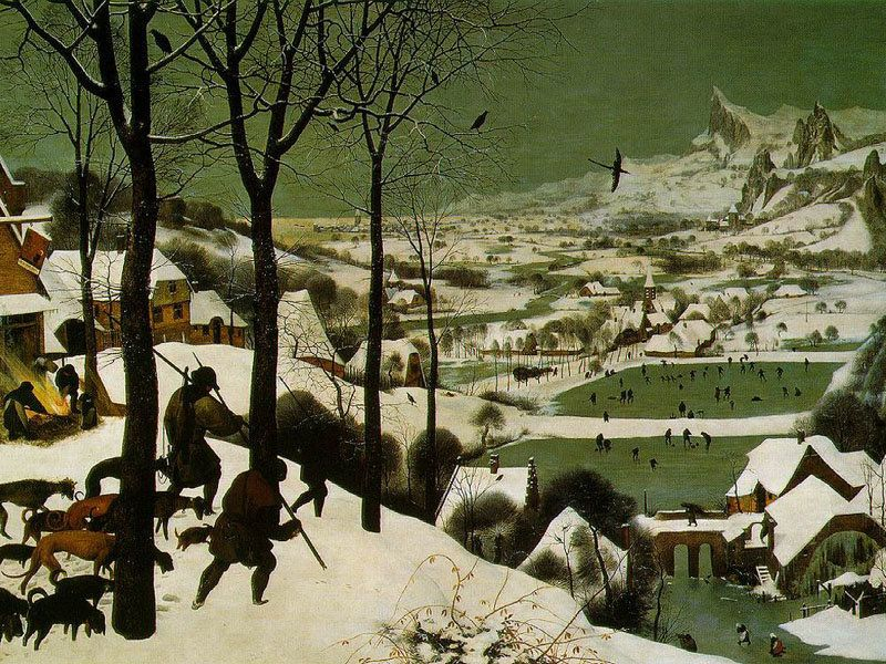 "Flemish landscapes are lovely this time of the year, don't you agree?  Pieter Brueghel the Elder, ""The Hunters in the Snow,"""