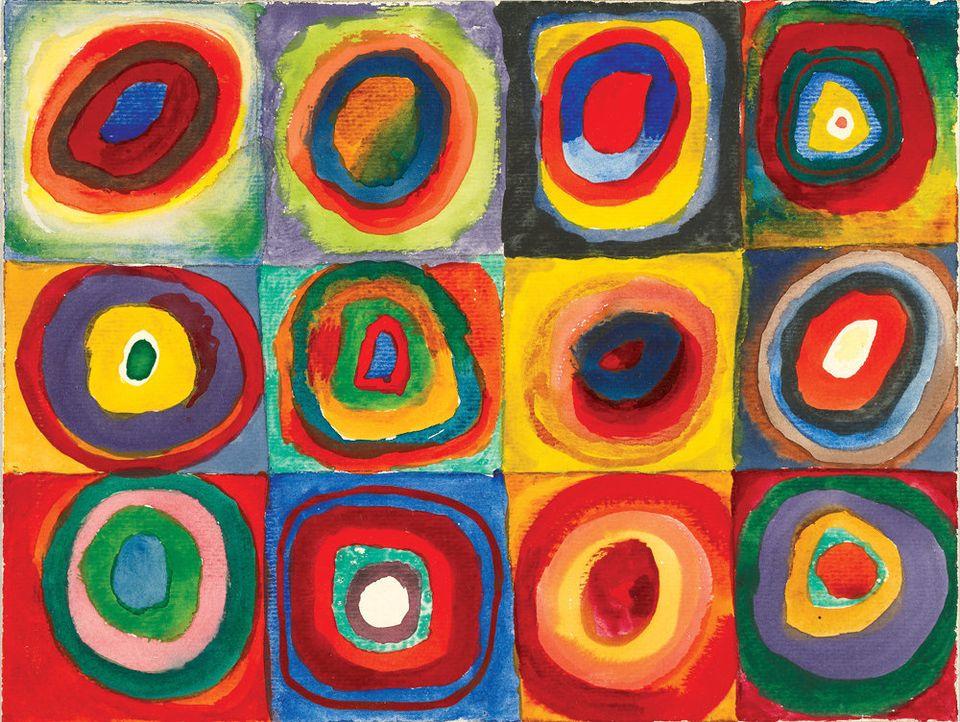 Vasily Kandinsky. Farbstudie — Quadrate mit konzentrischen Ringen (Color study — squares with concentric rings). 1913. Waterc