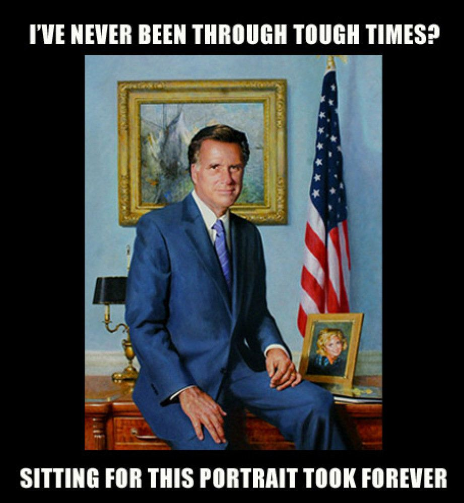 We bring you the wondrous portrait of Mitt (and Ann!) made by the relatively unknown painter, Richard Whitney. If you thought