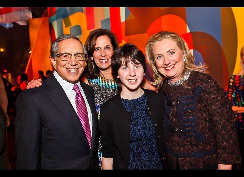 Secretary of State Hillary Clinton, AIE director Beth Dozoretz, her husband Ron Dozoretz, and their daughter Melanne Dozoretz