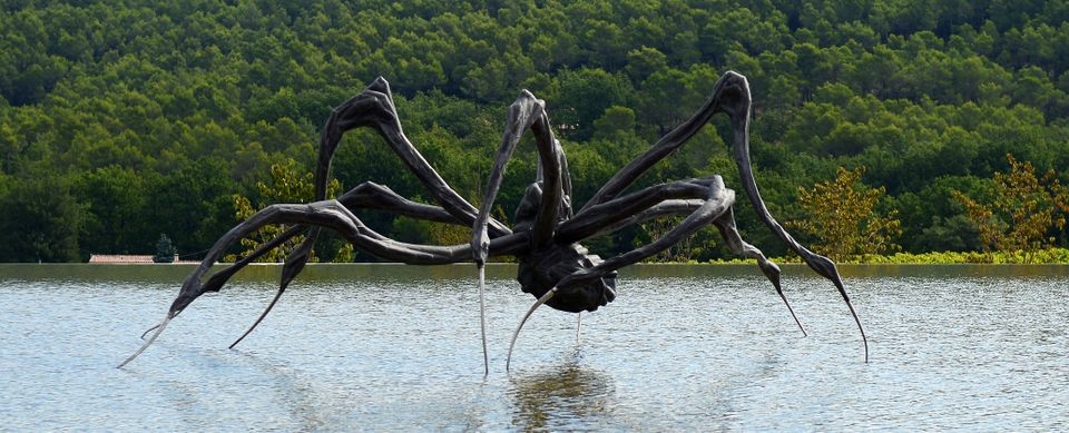 A picture taken on September 5, 2012 shows 'Crouching Spider' by Louise Bourgeois presented at the Art Center of Chateau la C