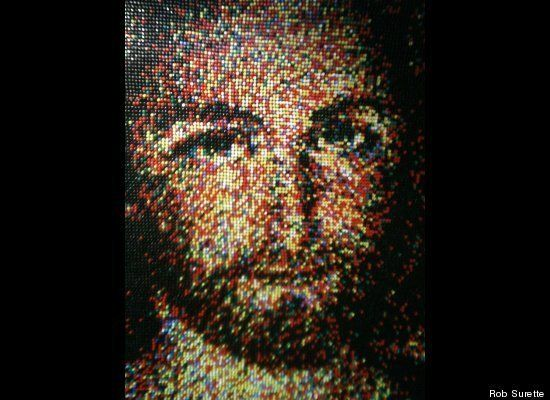 """Push-Pin Jesus"" by Rob Surette,  Portrait of Jesus made from 24,790 push pins."