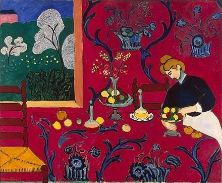 """Henri Matisse, """"The Dessert: Harmony in Red (The Red Room),"""" 1908, oil on canvas, 180.5 cm x 221 cm, The Hermitage Museum"""