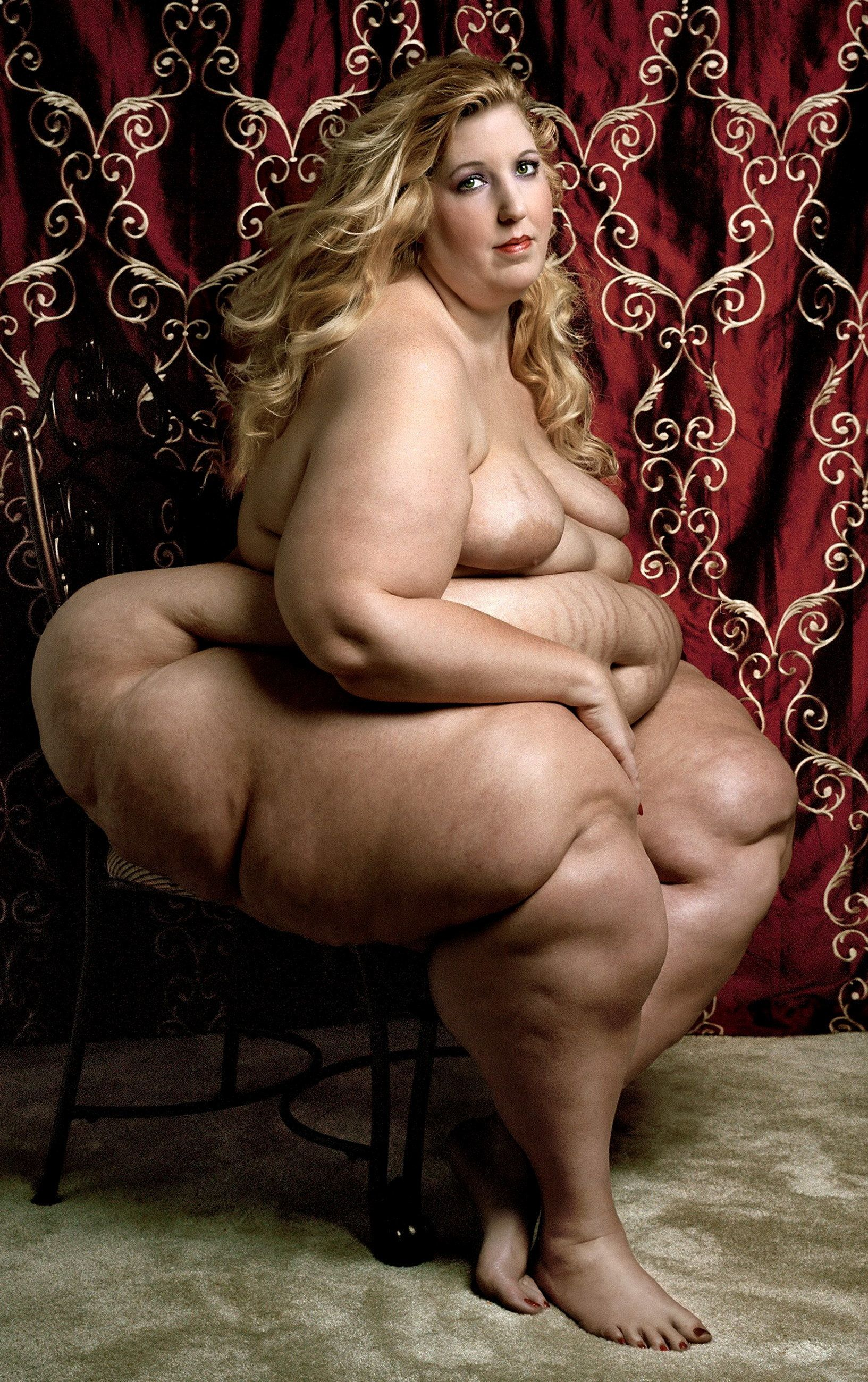 Naked obese woman