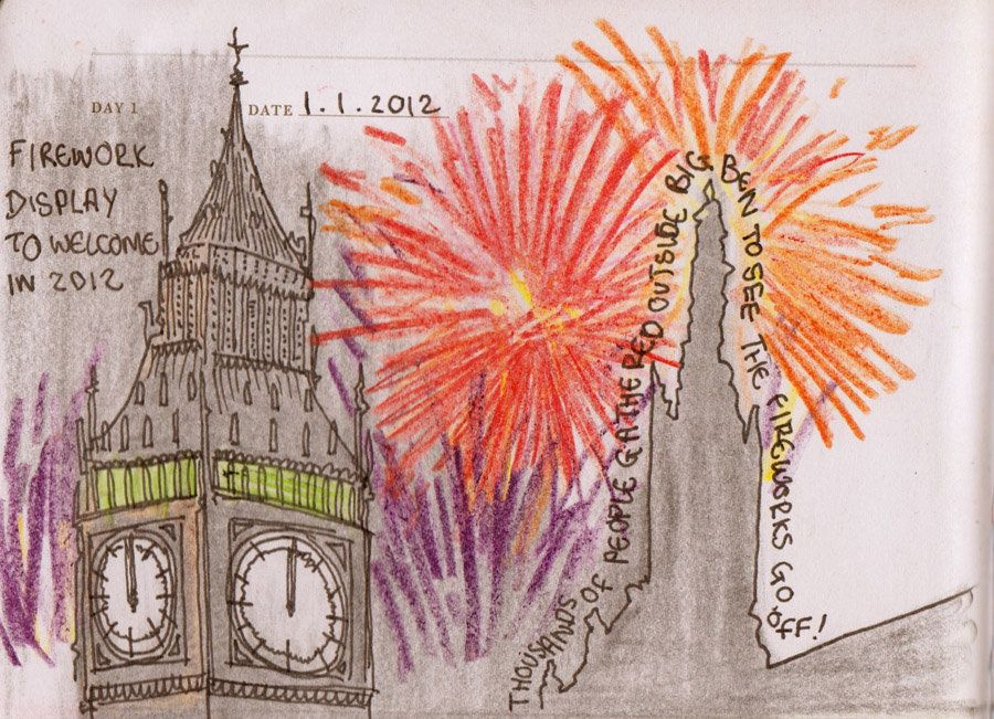"01/01/12: Welcoming in the New Year, fireworks at Big Ben, Westminster, London.  <a href=""http://gideonsummerfield.com/sketch"
