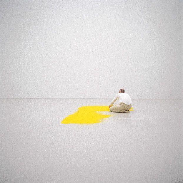 Pollen from hazelnut, 1992, pollen, 350 x 400 cm. Installation: Centre Pompidou, Paris, 1992 [Caption from Wolfgang Laib: Wit