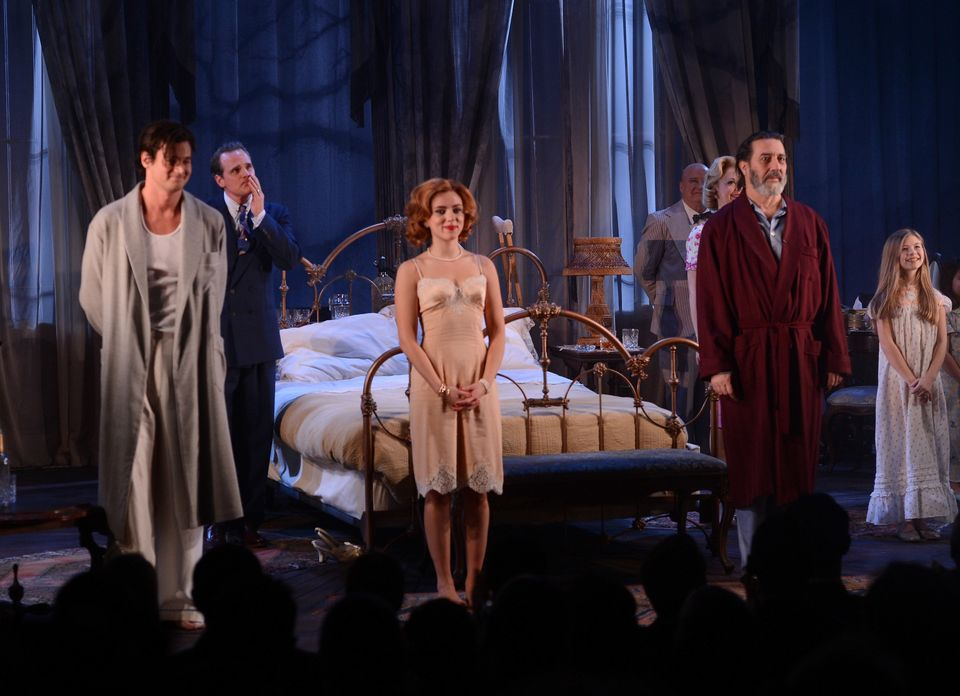 NEW YORK, NY - JANUARY 17:  (L-R)  Actors Benjamin Walker, Scarlett Johansson, and Ciaran Hinds attend the curtain call for t