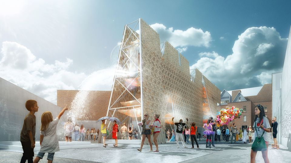 Rendering of CODA's Party Wall, winning design of the 2013 Young Architects Program. The Museum of Modern Art and MoMAPS1. Im