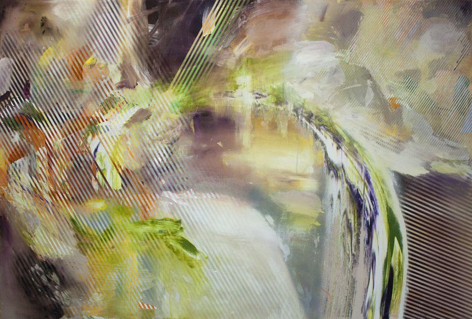 Acrylic and acrylic spray paint on canvas