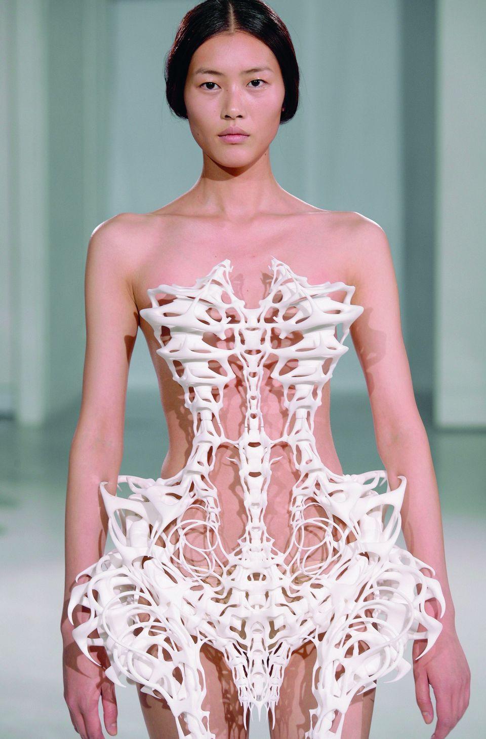 Iris van Herpen Amsterdam, The Netherlands 3-D printed skeleton dress Curator: A. F. Vanderborst   Pattern, 100 Fashion Desig