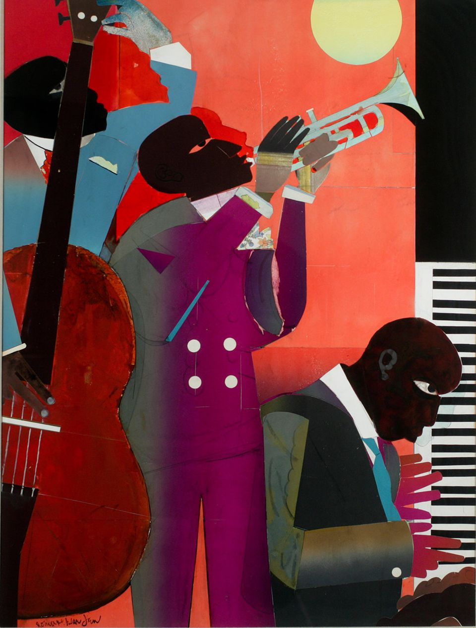 Romare Bearden Up at Minton's 1980 Watercolor and Collage on Board 39 1/2 x 29 1/2 inches
