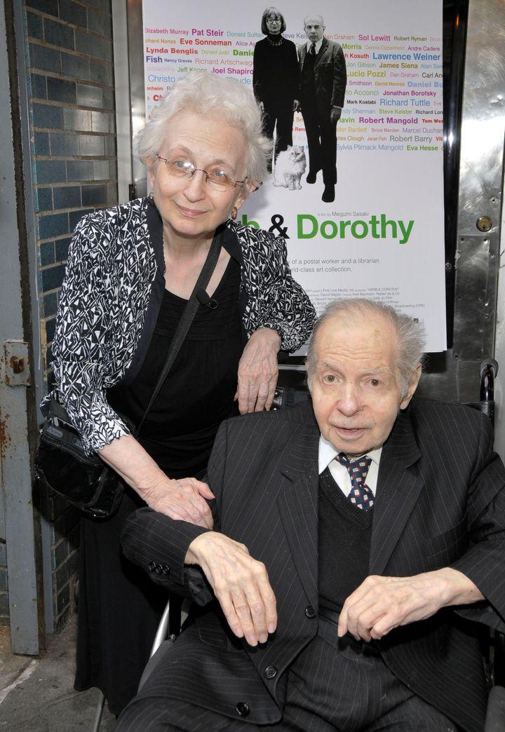 NEW YORK - JUNE 01:  Dorothy Vogel and Herb Vogel attend the 'Herb & Dorothy' premiere at Cinema Village Cinema on June 1, 20
