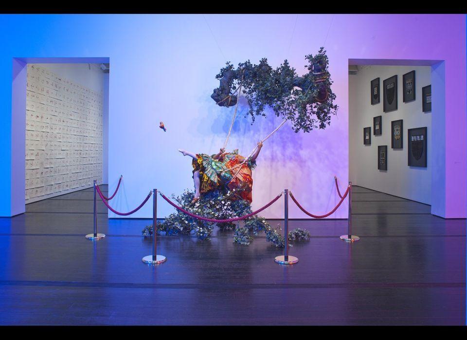 Center: Yinka Shonibare, <em>The Swing (After Fragonard)</em>, 2001; Left: Zoulikha Bouabdellah, <em>Cheri</em>, 2007; Right: