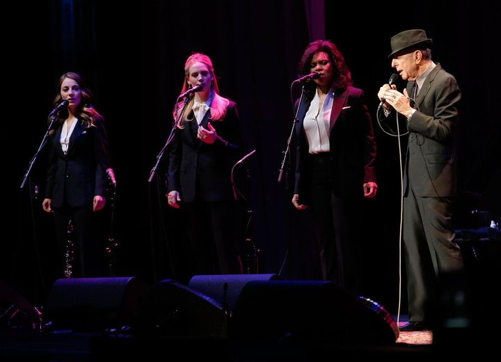 NEW YORK, NY - APRIL 06:  Singer/musician Leonard Cohen (R) performs at Radio City Music Hall on April 6, 2013 in New York Ci