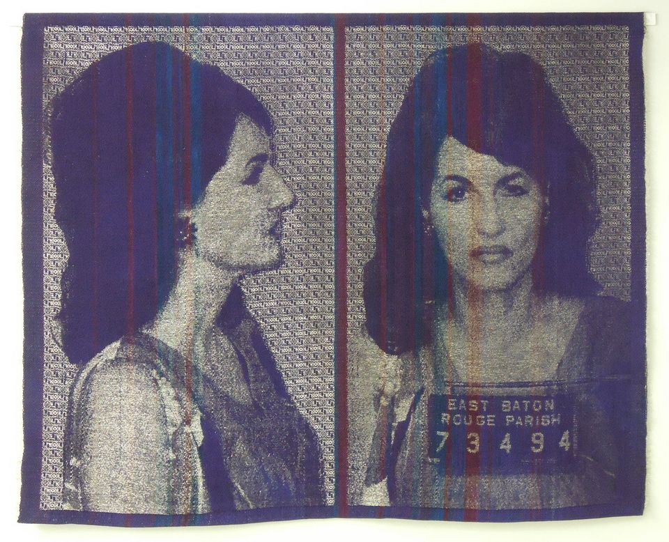 """Two Years and a Fine of $2,000"" Joanne Arnett Handwoven cotton/bamboo and tinned copper wire, 56"" x 45"", 2012"