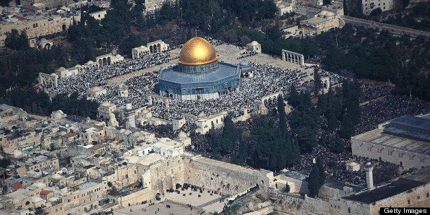 Friday prayer on Temple Mount with the Wailing wall and the Dome of the Rock, Aerial view, Jerusalem, Israel
