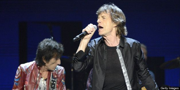 SAN JOSE, CA - MAY 8: Ronnie Wood (L) and Mick Jagger of The Rolling Stones perform in support of the bands' 50 & Counting To