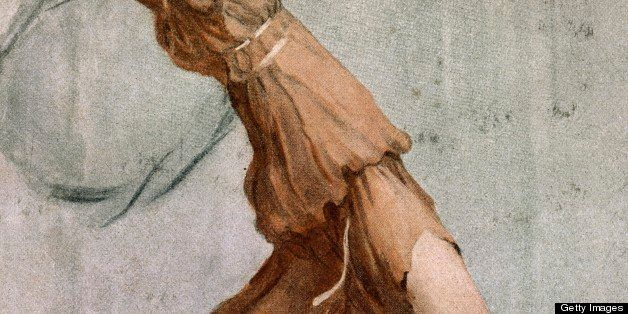 The dancer Isadora Duncan (1878-1927) in stage costume, drawing by August Gorguett Francois (1862-1927).