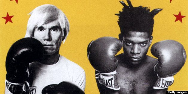 UNSPECIFIED - SEPTEMBER 22:  Exhibition Andy Warhol and Jean Michel Basquiat in New York poster 19octobre 1985 boxing gloves