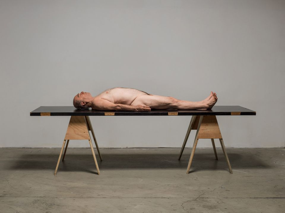 Paul McCarthy Horizontal 2012 Platinum silicone, fiberglass, aluminum, stainless steel, natural hair, pigment, paint, wood do