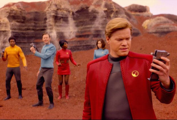 "Jesse Plemmons and other cast members in the ""Black Mirror"" installment ""USS Callister."""