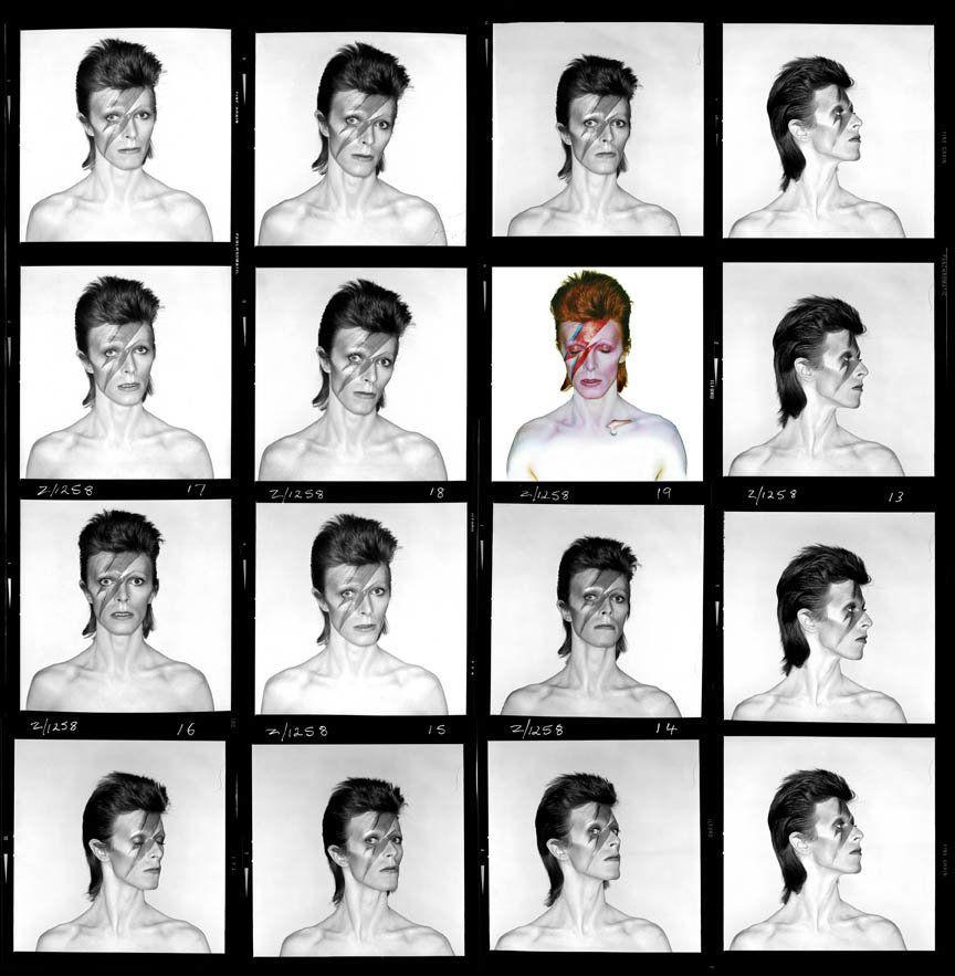 David Bowie, Aladdin Sane, Contact Sheet, 1973 © Brian Duffy