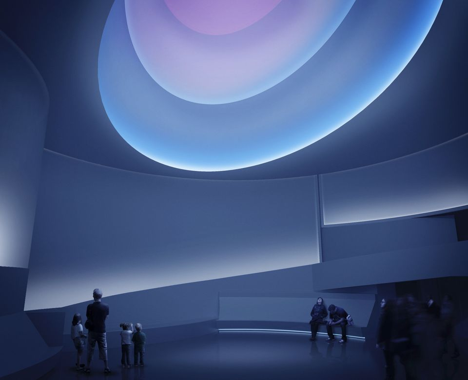 James Turrell Rendering for Aten Reign, 2013 Daylight and LED light Site-specific installation, Solomon R. Guggenheim Museum,