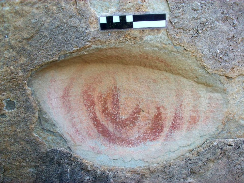 This photo released by the National Institute of History and Anthropology (INAH) in Mexico, shows cave paintings found in the
