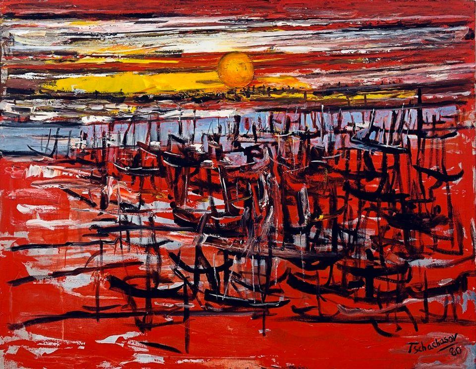 Harbor Sunset, Nahum Tschacbasov, 1980