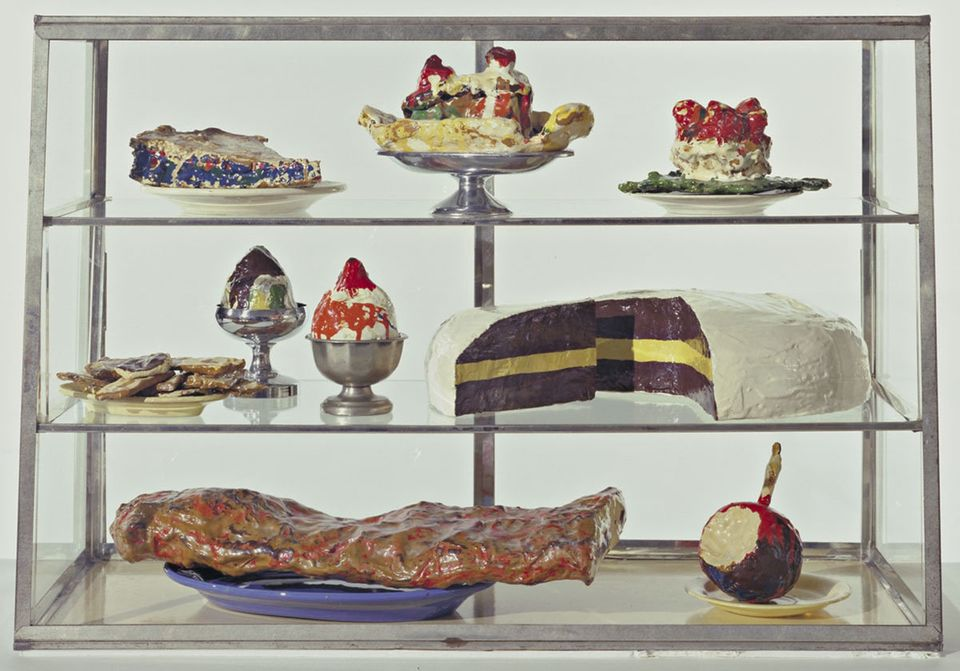 These look good enough to eat!   Claes Oldenburg (American, born Sweden 1929). Pastry Case, I, 1961-62. Painted plaster sculp
