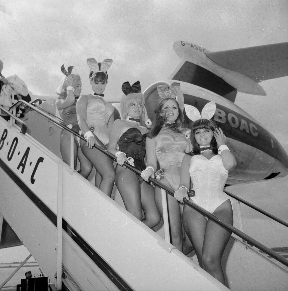 24th April 1966:  A group of British Playboy Bunny girls (Kathleen Bascombe, Dolly Read, Catherine MacDonald and Doreen Allen