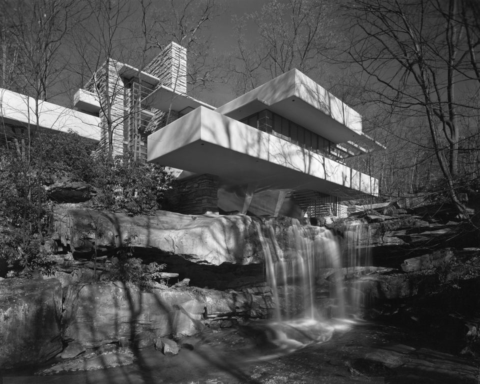 Exterior view of the Edgar Kaufmann residence in Mill Run, Pennsylvania, known as 'Fallingwater', December 1937. Designed by