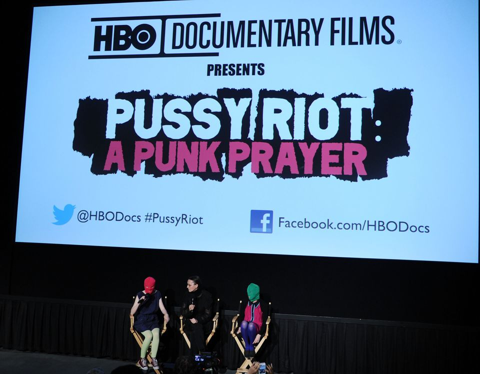 Headlights (L) and Puck (R) from 'Pussy Riot' speak at 'Pussy Riot: A Punk Prayer' at Landmark's Sunshine Cinema on June 5, 2
