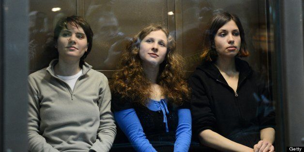 -- EDITORS NOTE -- CORRECTING POSITION --Members of the all-girl punk band 'Pussy Riot' (L-R) Yekaterina Samutsevich, Maria A