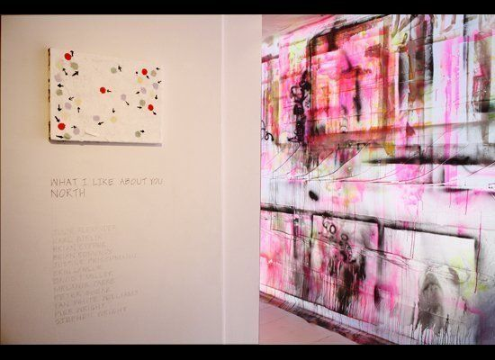 What I Like About You-North, Imogen Holloway Gallery: Peter Shear on left, Justine Frischmann window installation on right
