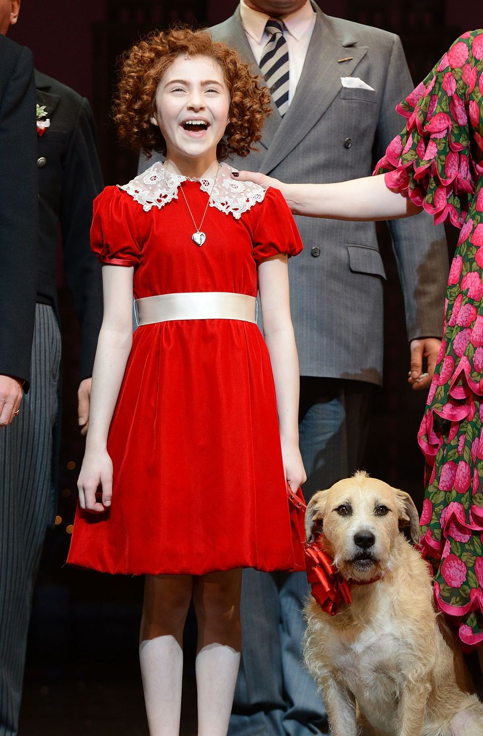 Actress Lilla Crawford takes her curtain call at the opening night of 'Annie' on Broadway at Palace Theatre on November 8, 20
